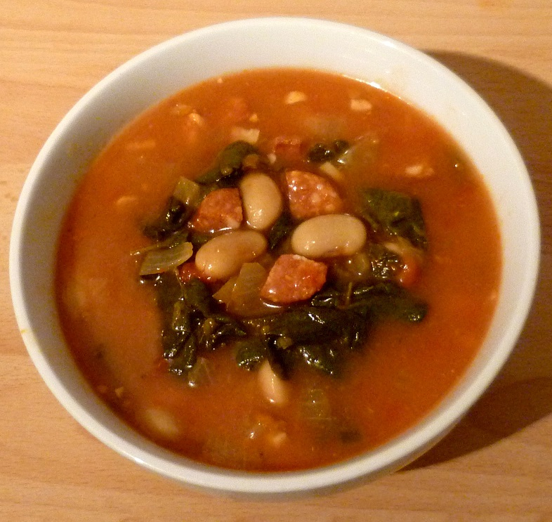 Chorizo, butter beans and spinach stew